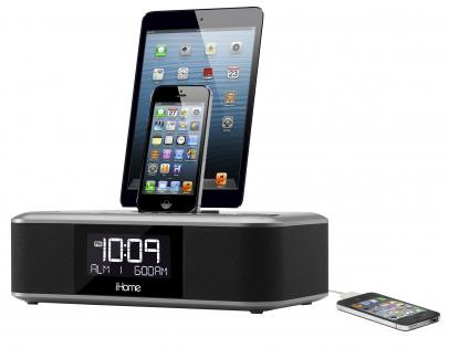 sdi idl100e ihome stereo weckuhr mit fm radio 3 fach ladestation 2x lightning 1x usb f r. Black Bedroom Furniture Sets. Home Design Ideas