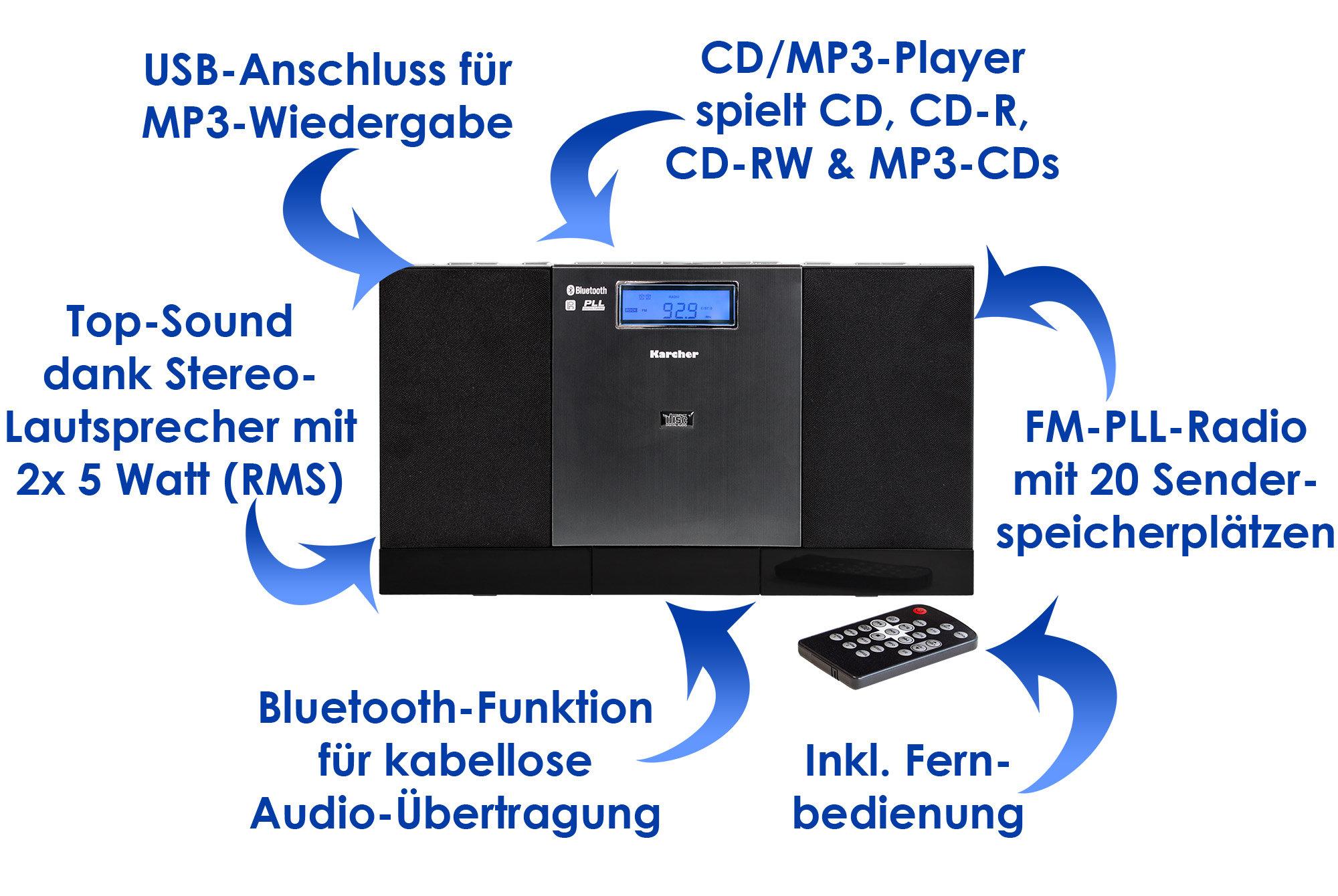 karcher mc 6540bt musik center bluetooth cd player mp3. Black Bedroom Furniture Sets. Home Design Ideas