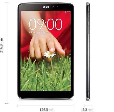 LG G Pad - Größe