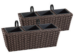 gartenfreude polyrattan balkonkasten blumenkasten 2 st ck inkl aufh ngung 47 x 17 x 17 cm mit. Black Bedroom Furniture Sets. Home Design Ideas