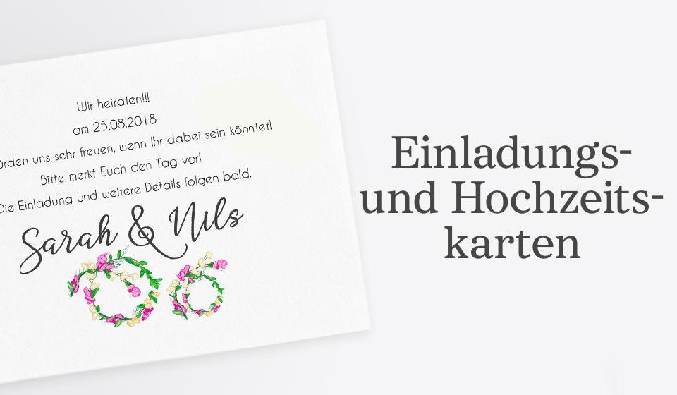 Einladungs- und Hochzeitskarten