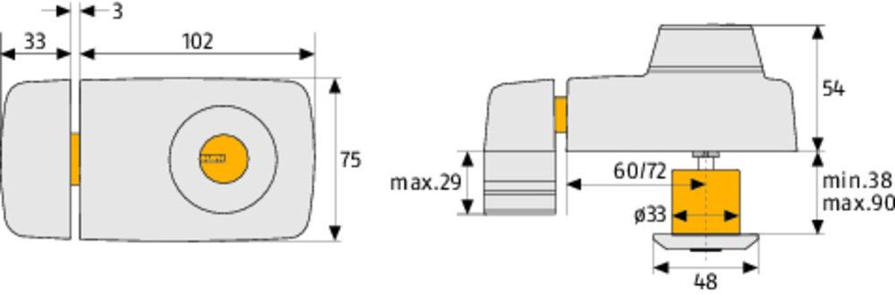 abus t r zusatzschloss 7025 mit beidseitigem zylinder. Black Bedroom Furniture Sets. Home Design Ideas
