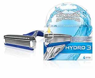 Wilkinson HYDRO 3 (4x): Mit feuchtigkeitsspendendem Gel-Reservoir und 3 UltraGlide Klingen