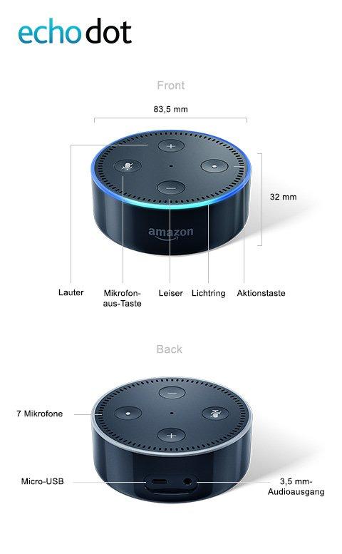 Amazon Echo Dot | Microfon-aus-Taste | 7 Mikrofone | Aktionstaste | Lichtring