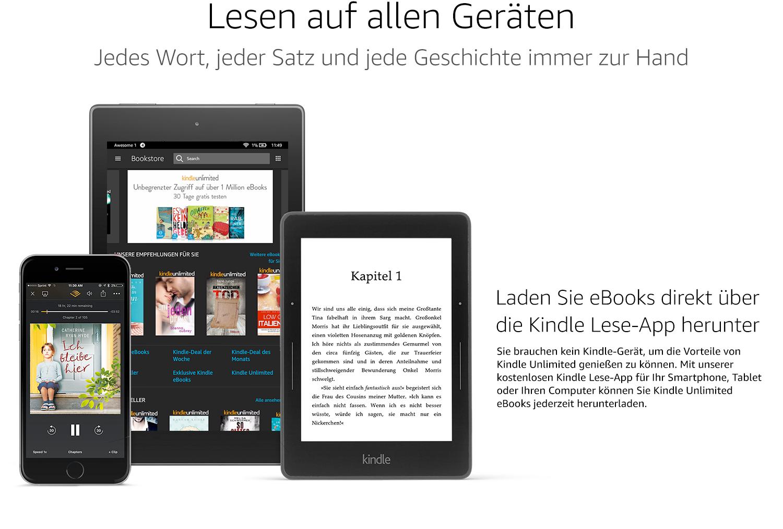 Laden Sie eBooks direkt über die Kindle Lese-App herunter. Sie brauchen kine Kindle-Gerät, um die Vorteile von Kindle Unlimited genießen zu können. Mit unserer kostenlosen Kindle Lese-App für Ihr Smartphone, Tablet oder Ihren Computer können Sie Kindle Unlimited eBooks jederzeit herunterladen.