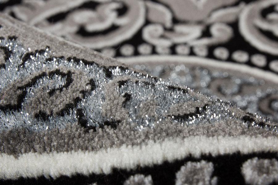 lalee 347170340 designer teppich muster kreise silber schwarz 3d konturen glitzer edel gr sse. Black Bedroom Furniture Sets. Home Design Ideas