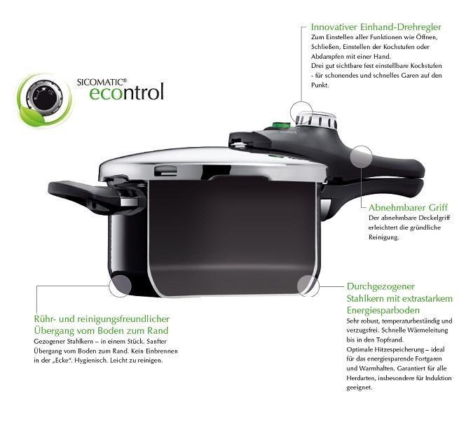 silit sicomatic econtrol schnellkochtopf 6 5l ohne einsatz. Black Bedroom Furniture Sets. Home Design Ideas