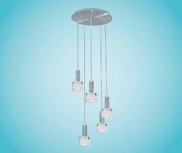 eglo h ngeleuchte modell fabiana rondell 5 flammig in chromfarbenem stahl in satiniertem und. Black Bedroom Furniture Sets. Home Design Ideas