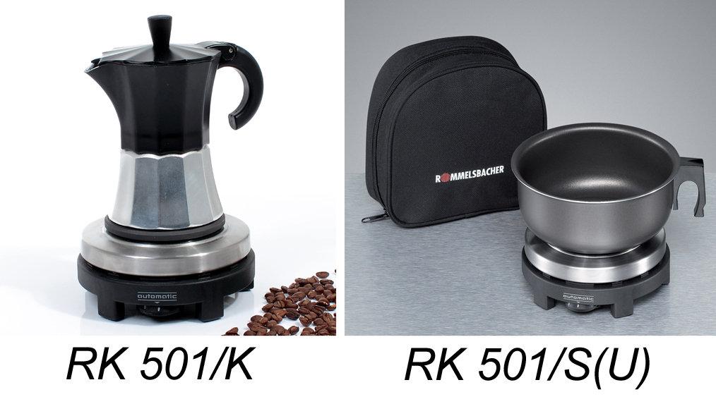 rommelsbacher rk 501 automatic reisekochplatte 500 watt edelstahl schwarz. Black Bedroom Furniture Sets. Home Design Ideas