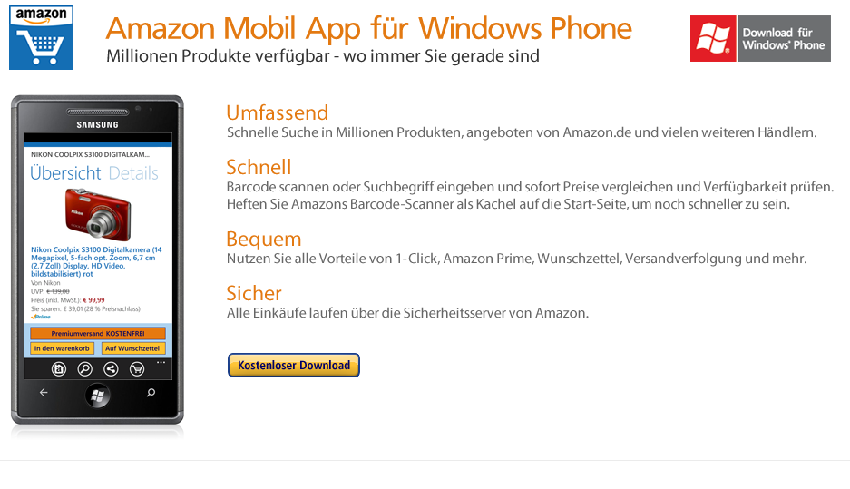 Amazon DE Windows Phone 7 App