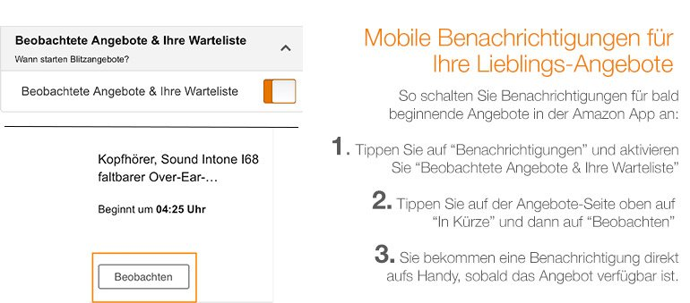 Amazon App Benachrichtungen für Angebote