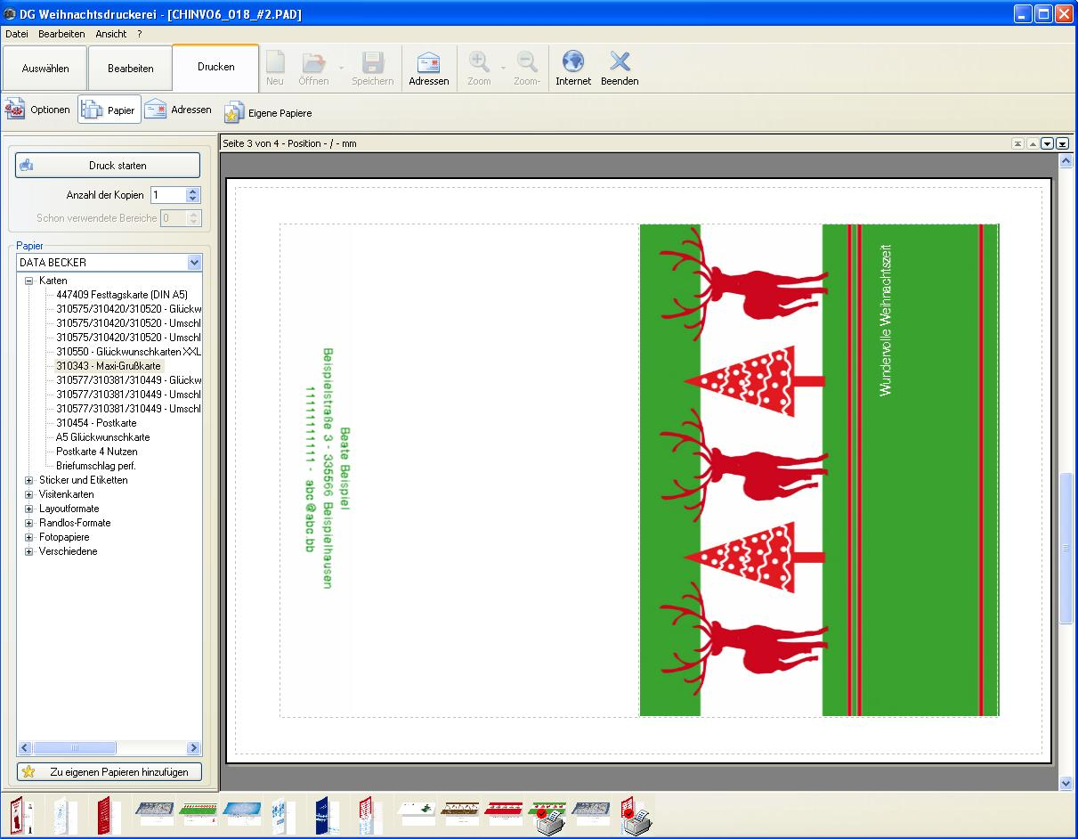 Abc Weihnachtskarten.Die Große Weihnachts Druckerei 2009 Amazon De Software