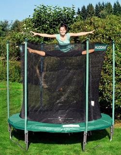 hudora trampolin mit sicherheitsnetz 250 cm schwarz gr n art 65500 sport. Black Bedroom Furniture Sets. Home Design Ideas