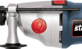 Schlagbohrmaschine mit 850 Watt mit 2-Gang-Getriebe und Zusatzhandgriff mit Zahnkranzbohrfutter