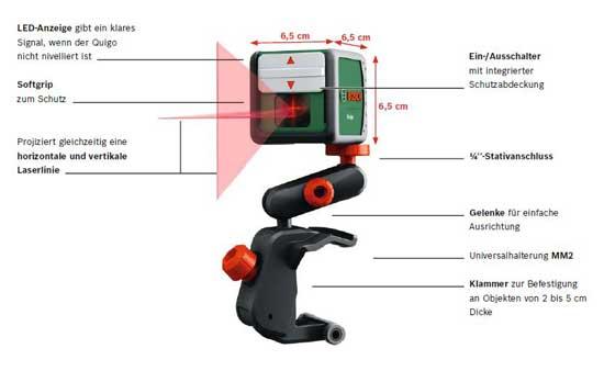 Bosch kreuzlinienlaser quigo baumarkt for Niveau laser bosch quigo 2