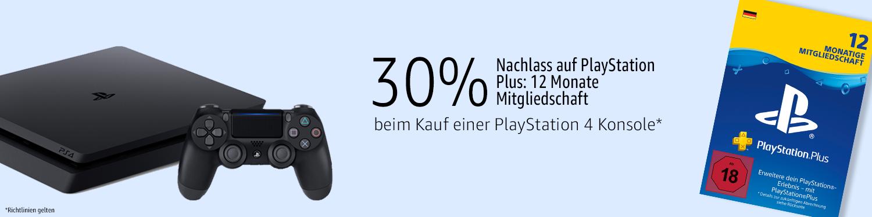 30% Rabatt auf PlayStation Plus 12 Monate, beim Kauf einer PlayStation 4 Konsole