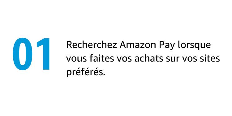 Recherchez Amazon Pay lorsque vous faites vos achats sur vos sites préférés.
