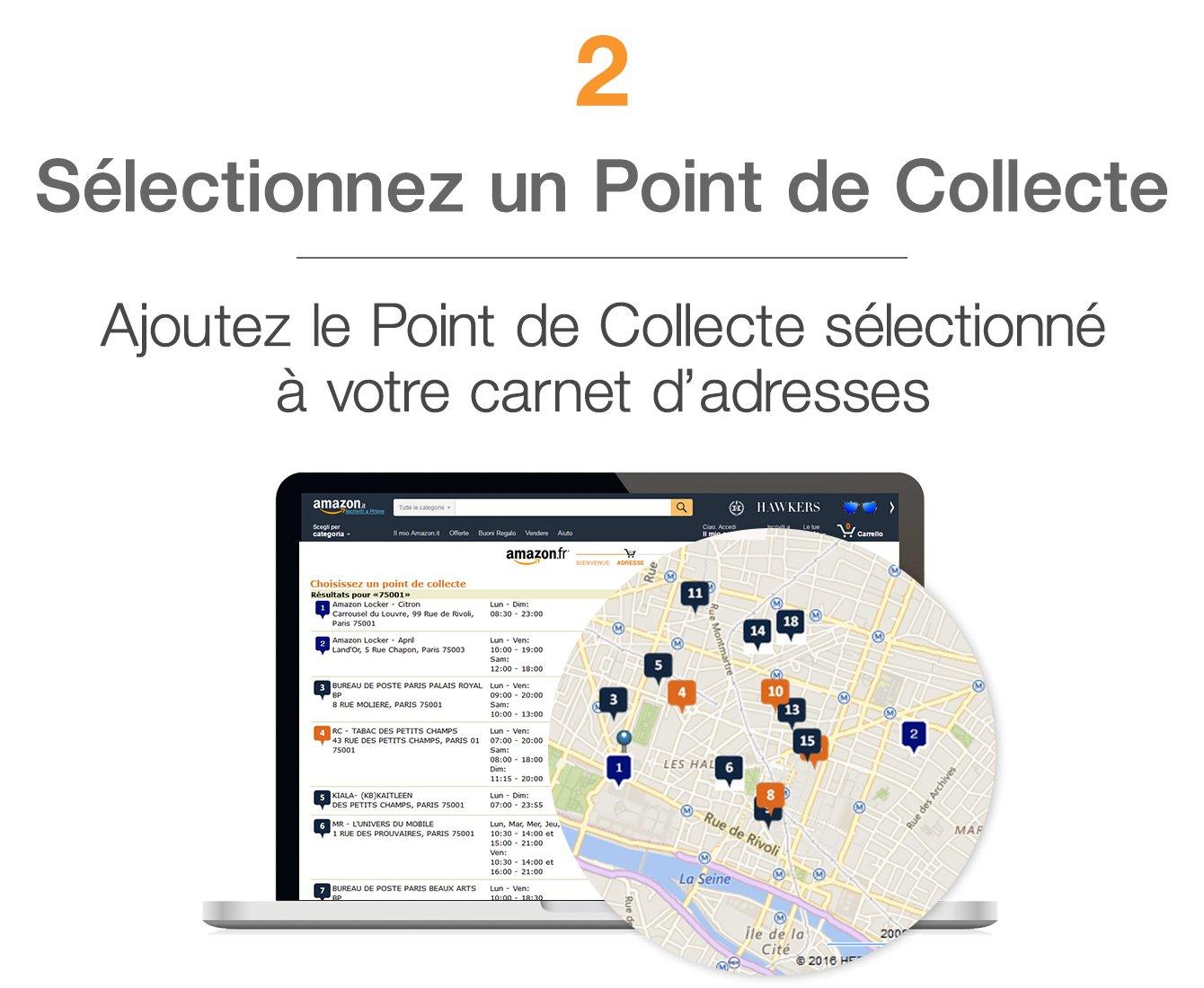 Sélectionnez un Point de Collecte . Ajoutez le Point de Collecte sélectionné à votre carnet d'adresses