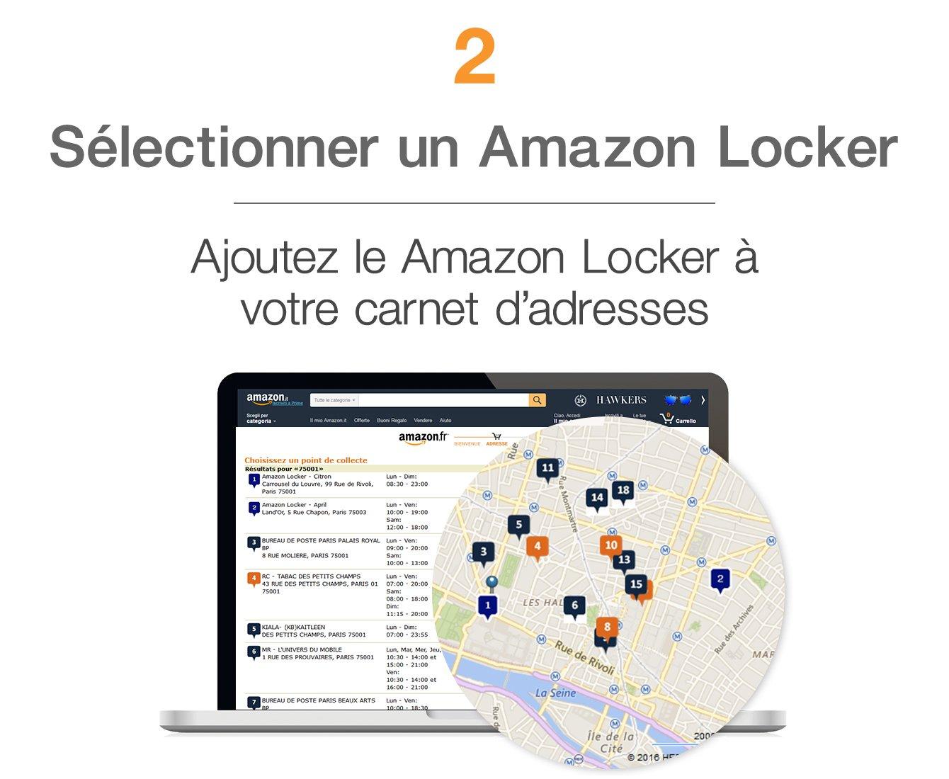 Sélectionner un Amazon Locker. Ajoutez le Amazon locker à votre carnet d'adresses