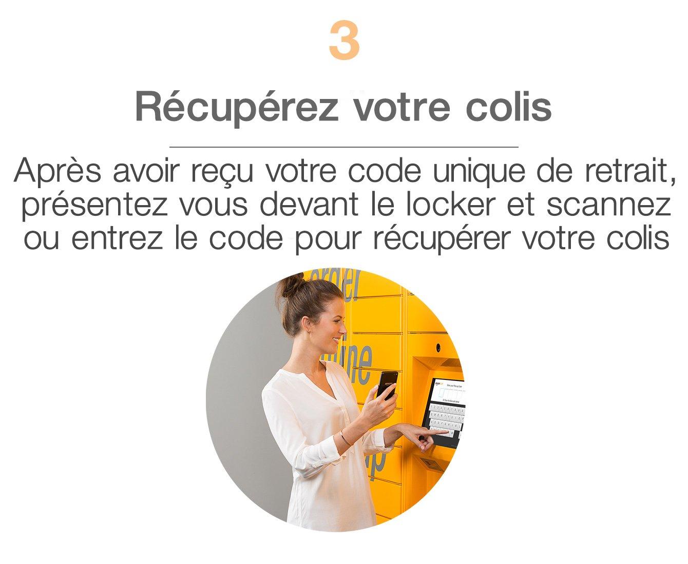 Après avoir reçu le mail indiquant votre code unique de retrait, présentez vous devant le locker et scannez ou entrez le code de retrait pour récupérer votre colis