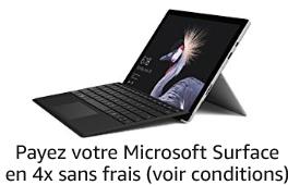 Sélection de Microsoft Surface en 4 fois sans frais