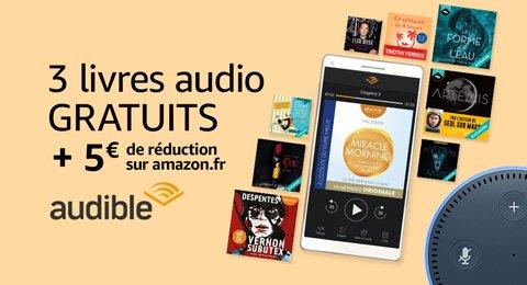 Audible : 3 livres audio gratuits + 5€ offerts