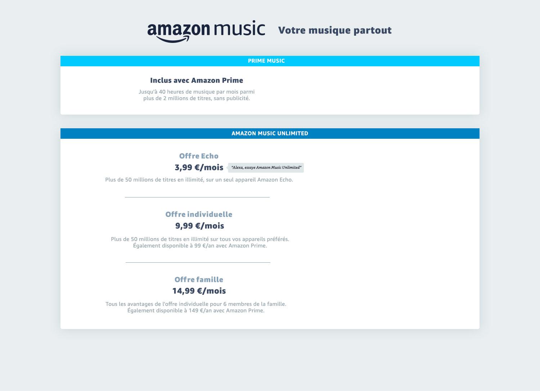 Choisissez l'offre Amazon Music Unlimited la plus adaptée à vos besoins. Offre Individuelle à 9,99 €/ mois (99 € par an pour les membres Amazon Prime) ou l'offre Famille avec 6 comptes individuels à 14,99 €/mois (ou 149€ par an pour les membres Amazon Prime), soit près de 2 mois d'économies pour les membres Amazon Prime. Bénéficiez de plus de 50 millions de titres en écoute illimité, des playlists et recommendations personalisées et un essai gratuit de 30 jours. Les avantages Amazon Music Unlimited : Mode hors connexion, écoute haute qualitée sur tous vos appareils : iPhone, Android, Fire tablette, ordinateur (PC & Mac),