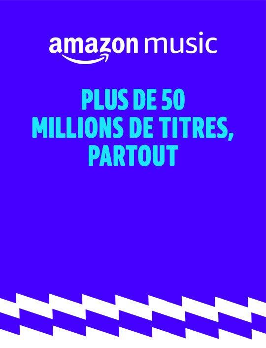 Abonnement Amazon Music Unlimited Individuel ou Famille - Profitez de plus de 50 millions de musiques à écouter en illimité, des centaines de playlists sur votre téléphone, tablette, ordinateur, web player, etc. pour 9,99 €/mois Offre exclusive membres Prime : 99 €/an (2 mois d'économies). Téléchargez gratuitement l'application.