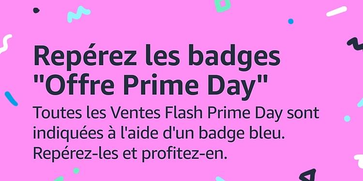 Repérez les badges bleus Prime Day