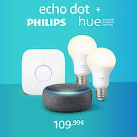 Nouveau Echo Dot + Kit Philips Hue White