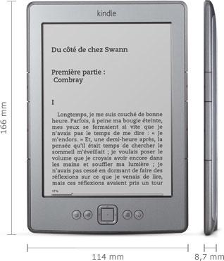 Liseuse Kindle : 166 mm x 114 mm x 8.7 mm