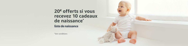 Liste de naissance : 20 euros offerts si vous recevez 10 cadeaux de naissance