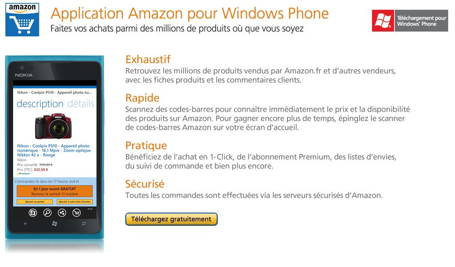 T�l�chargez gratuitement l'application Amazon Mobile pour Windows Phone