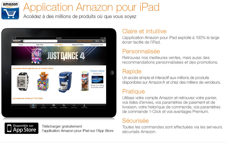 T�l�chargez gratuitement l'application Amazon pour iPad