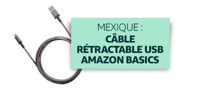Mexique : Câble rétractable Lightning vers USB Amazon Basics