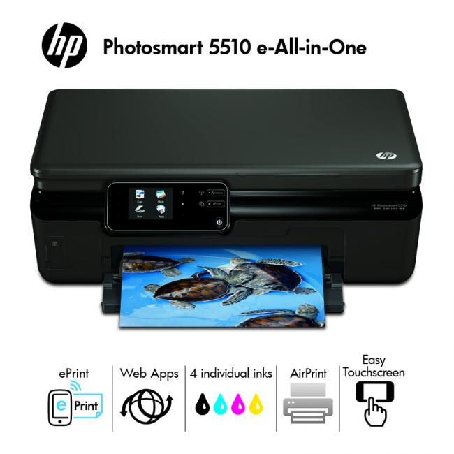 hp photosmart 5510 e all in one imprimante multifonctions jet d 39 encre couleur 22 ppm wifi usb 2. Black Bedroom Furniture Sets. Home Design Ideas