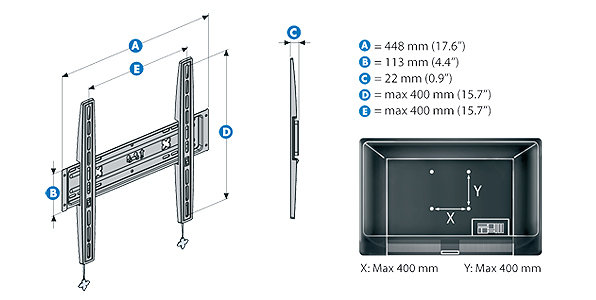 Meliconi s 400 support mural fixe stile pour tv led lcd - Support tv mural samsung ...