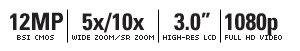"16 MEGAPIXELS | 5X/10X WIDE ZOOM/SR ZOOM | 3.0"" HIGH-RES LCD | 1080P FULL HD VIDEO"