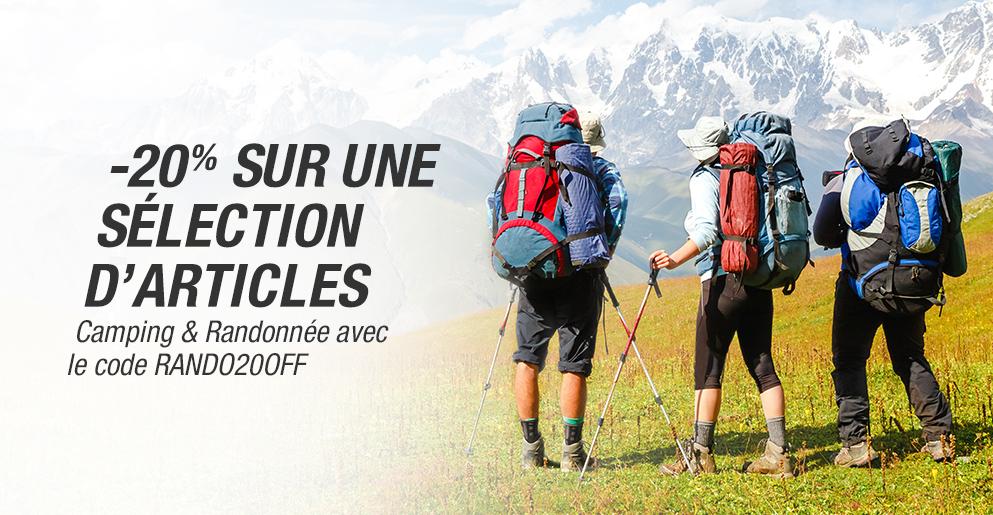 -20% sur une sélection d'articles camping & randonnée