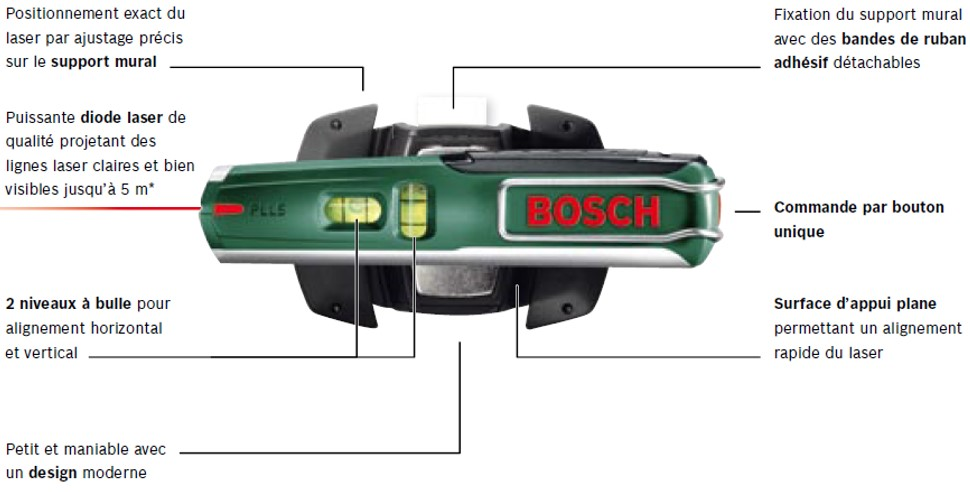 Bosch niveau laser bulle pll 5 0603015000 for Niveau laser bosch quigo 2