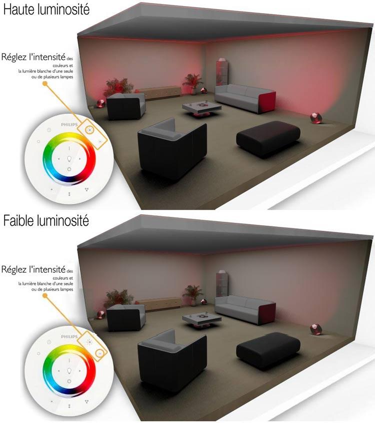 philips livingcolors led gen 2 noir transparent luminaire d 39 ambiance design t l commande incluse. Black Bedroom Furniture Sets. Home Design Ideas