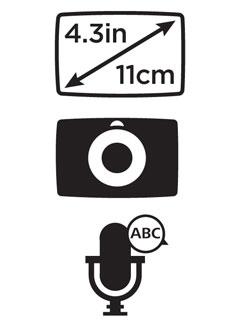 Écran tactile panoramique de 4,3 pouces, fixation intégrée et appels mains libres.