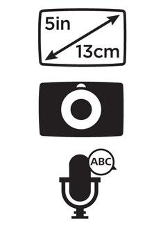 Écran large XXL 5 pouces (13 cm), fixation intégrée et appels mains libres.