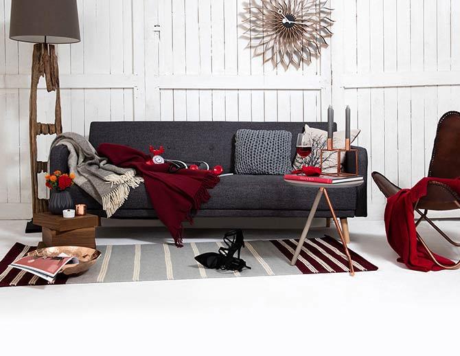 Salon design en rouge