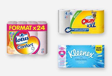 Essuie-tout, papier toilette et mouchoirs