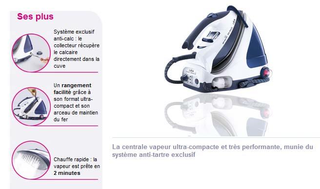 Calor GV8500CCentrale vapeur Pro Minute Aquaplus bleu