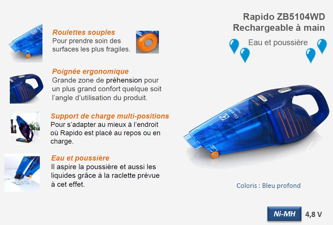 Electrolux zb5104wd aspirateur main rapido rechargeable - Batterie pour aspirateur electrolux ...