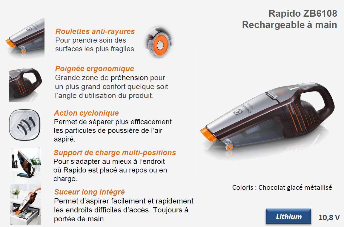 ELECTROLUX Aspirateur à main 10.8v ZB6108 rapido Vente