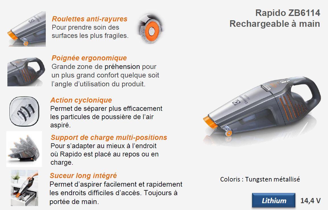 Electrolux ZB6114 Rapido Aspirateur à Main Rechargeable Tungstène Métallisé: Amazon.fr: Cuisine ...