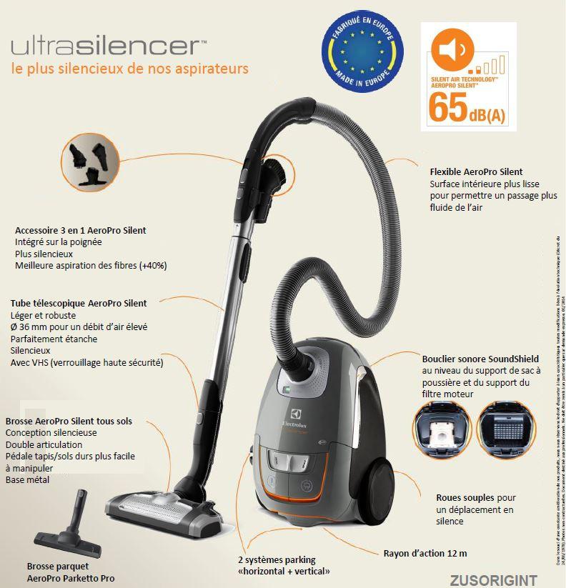 Electrolux ZUSORIGINT UltraSilencer Aspirateur Traineau avec Sac Gris